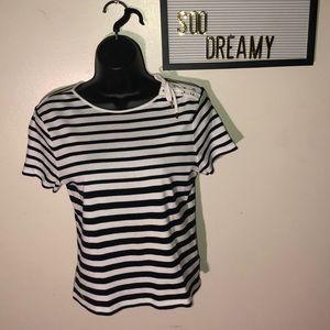 LAUREN RALPHLAUREN Petite Black & White Stripe Top